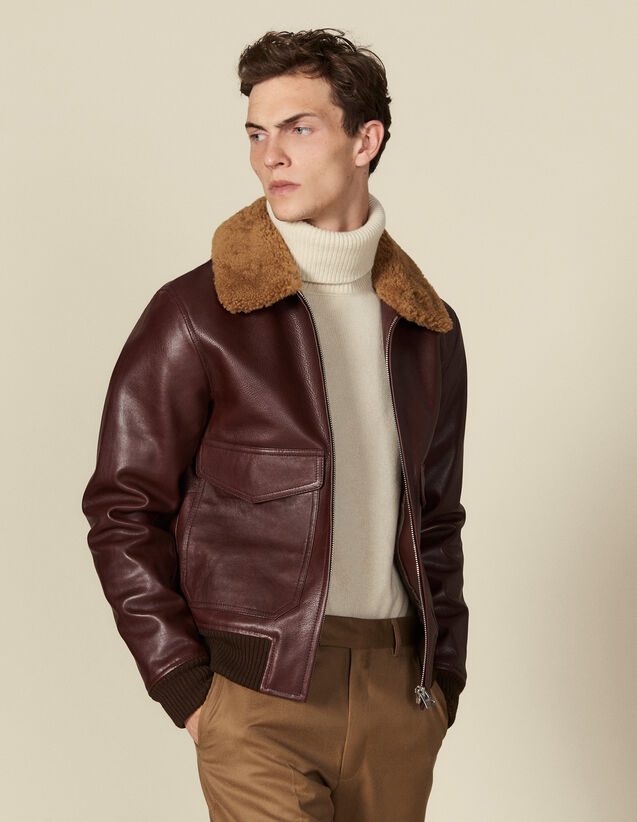 Leather aviator jacket with sheepskin : Jackets color Bordeaux