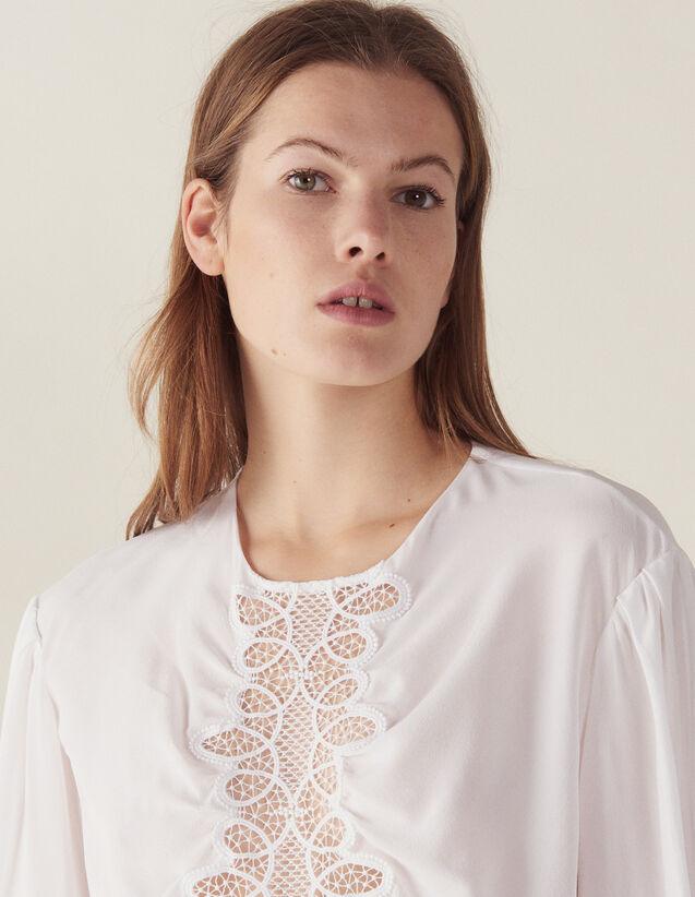 Long-Sleeved Silk Top : Tops & Shirts color white