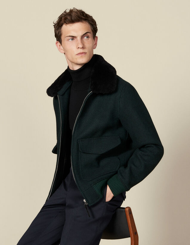 Chevron wool aviator jacket : Jackets color Dark green