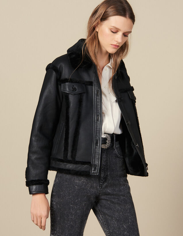 Sheepskin Jacket : Coats color Black