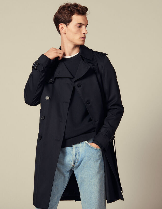 Belted Trench Coat : Coats color Navy Blue