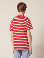 T-Shirt With Contrasting Stripes : T-shirts & Polos color Red