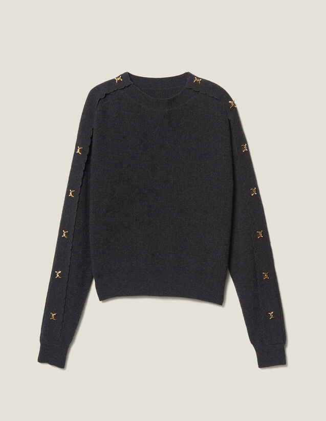 Sweater With Jewelled Buttons : Sweaters color Charcoal Grey