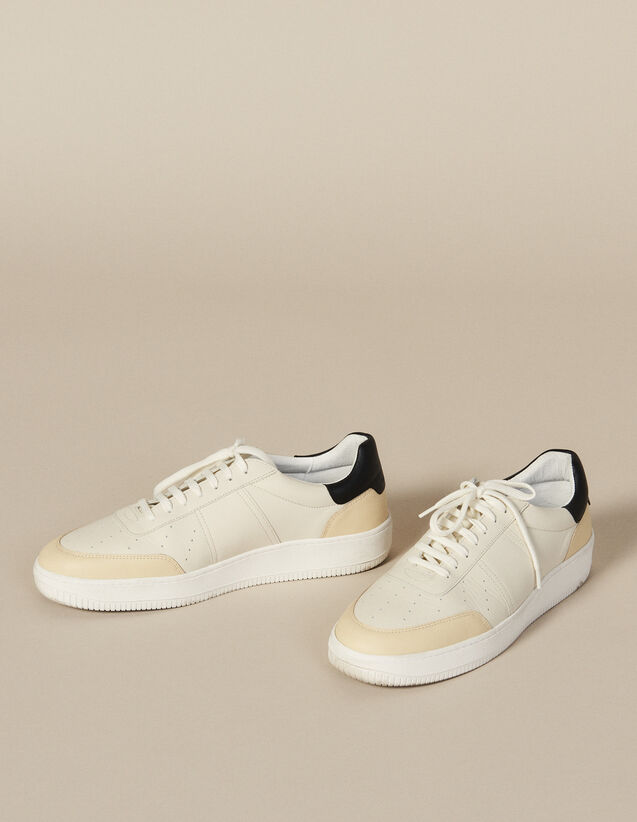 Leather Trainers : New Collection color White And Black