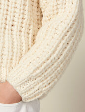 Hand-knitted sweater : Sweaters & Cardigans color Ecru