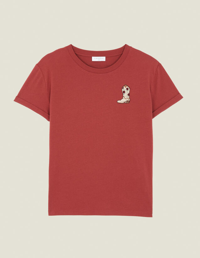 T-Shirt With Embroidered Patch : Tops & Shirts color Bordeaux