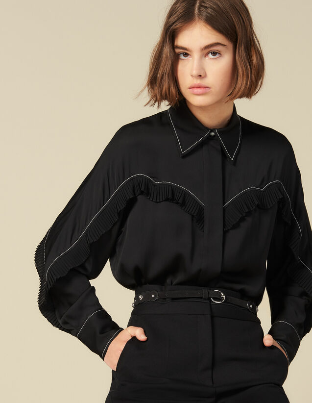 Shirt With Western Details : Tops & Shirts color Black