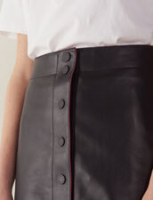 A-Line Leather Skirt : Skirts color Black