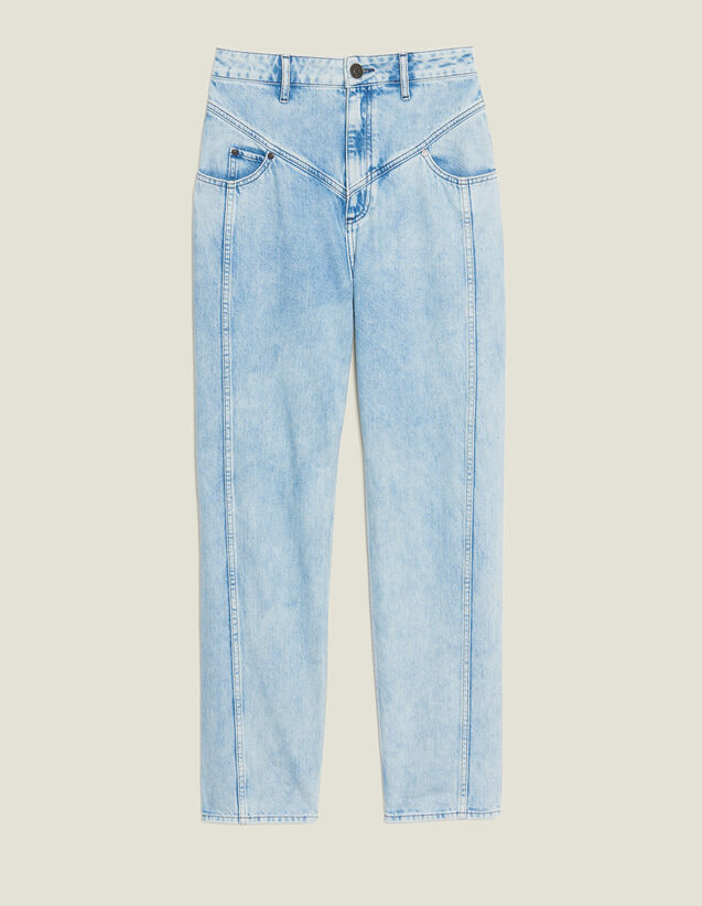 Washed Denim With Seaming : Jeans color Blue Vintage - Denim