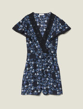 Short-Sleeved Printed Playsuit : Pants & Shorts color Blue