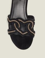 Heart Goatskin Suede Sandals : Shoes color Black