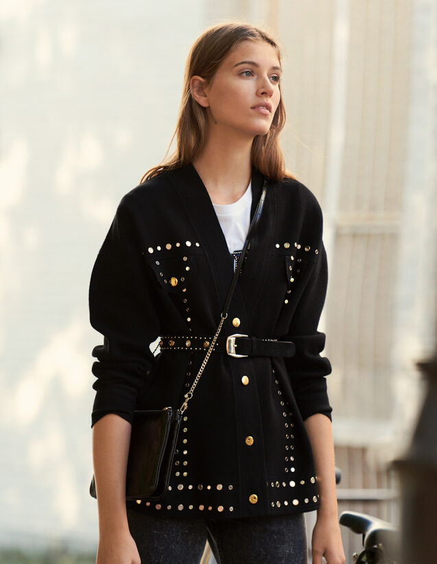 Cardi-Coat Trimmed With Studs : New Collection color Black