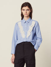 Shirt With Fine Stripes And Lace : Tops & Shirts color Sky Blue