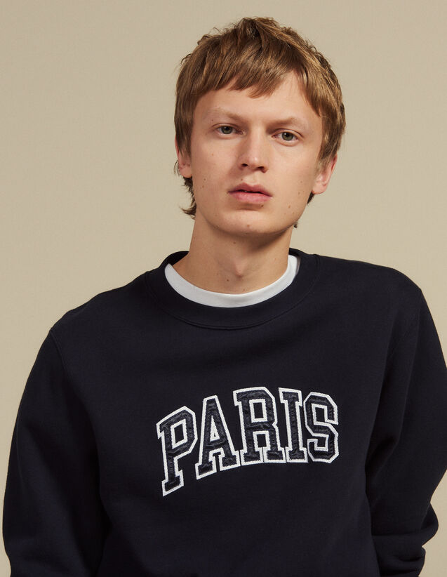 Sweatshirt With Patch Lettering : Sweaters color Navy Blue