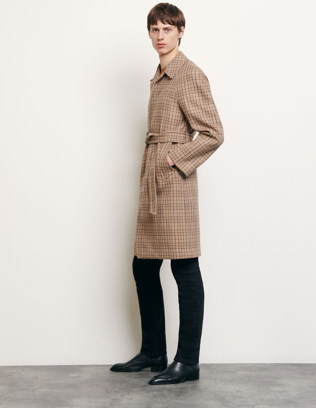 Decorative checked coat : Spring Pre-Collection color Beige