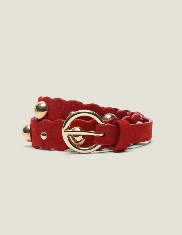 Leather Belt With Decoration : Other Accessories color Red