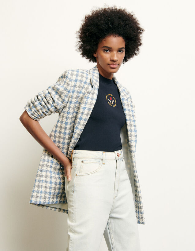 Tailored jacket in houndstooth tweed : Spring Pre-Collection color Blue sky