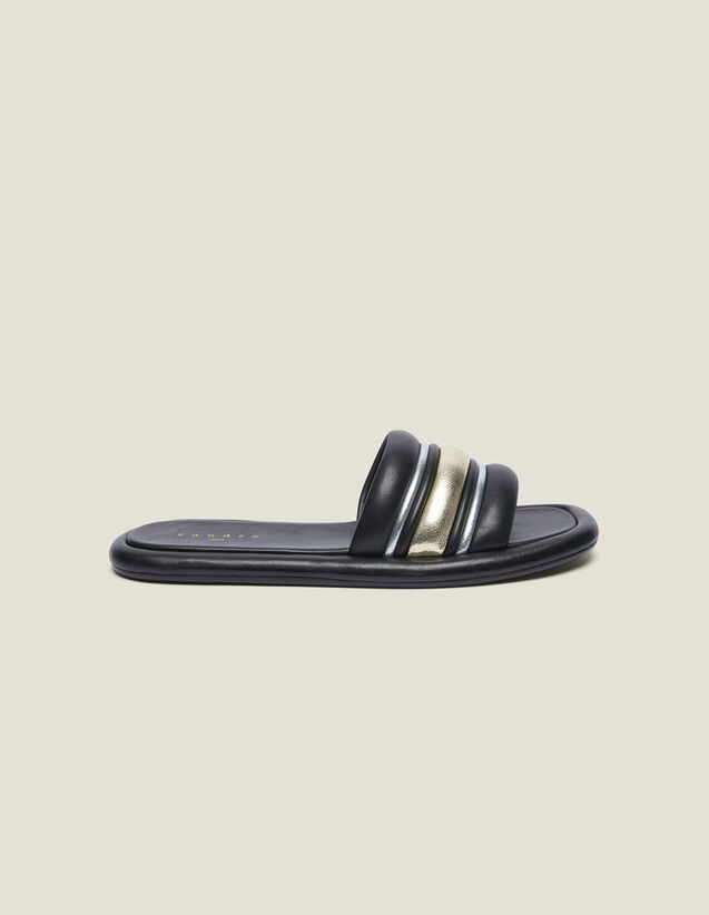 Flat Mules In A Blend Of Materials : Shoes color black/gold