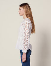 Dual Material Top With Lace : Tops & Shirts color white