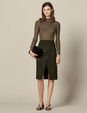 Wool Wrapover Skirt With Slit : Skirts color Olive Green