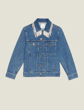Denim Jacket With Rhinestone Fringe : Jackets color Blue Vintage - Denim