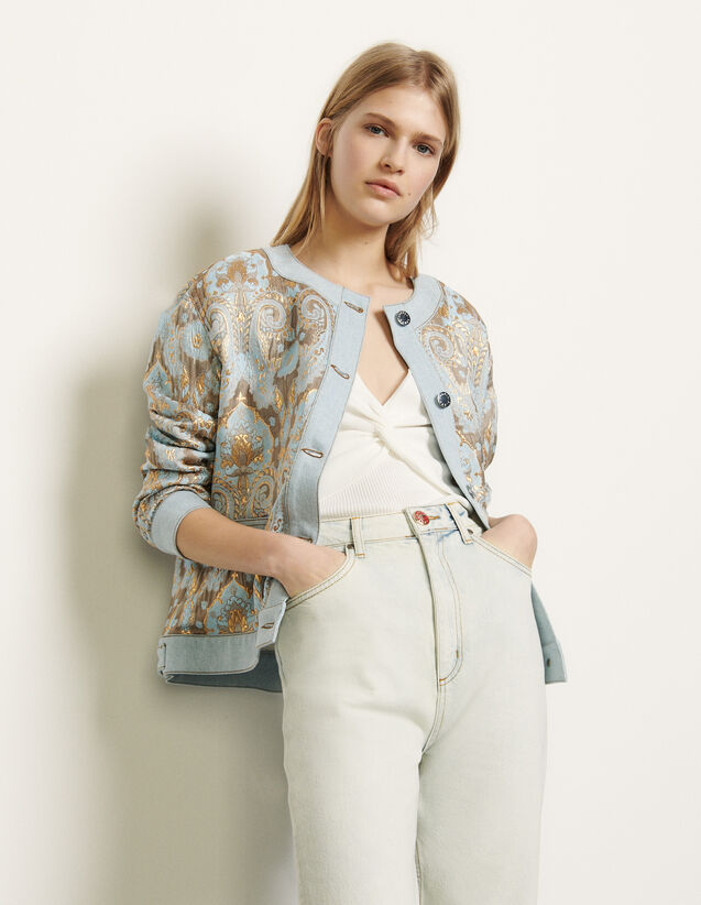 Brocade jacket with denim inserts : Jackets color Gold / Blue