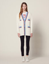 Long Cardigan With Long Sleeves : Sweaters color Ecru