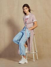 Long Shirt Dress With Narrow Stripes : Dresses color Bordeaux