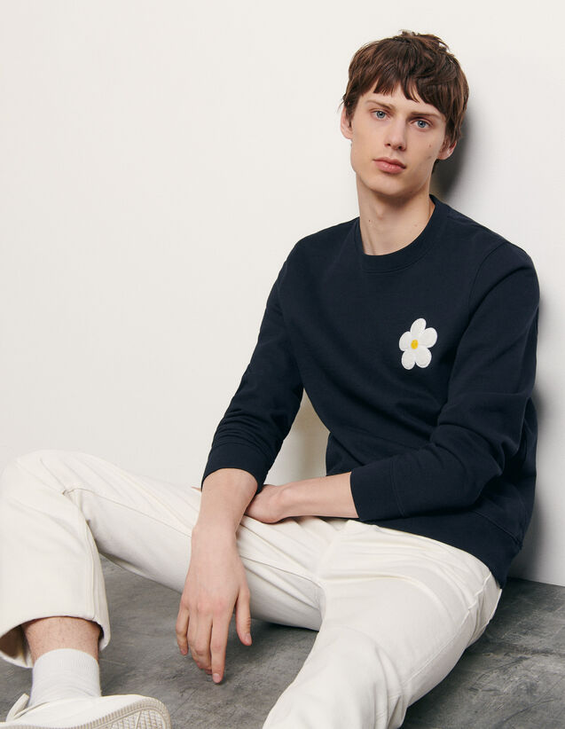 Sweatshirt with embroidered patch : Spring Pre-Collection color Navy Blue
