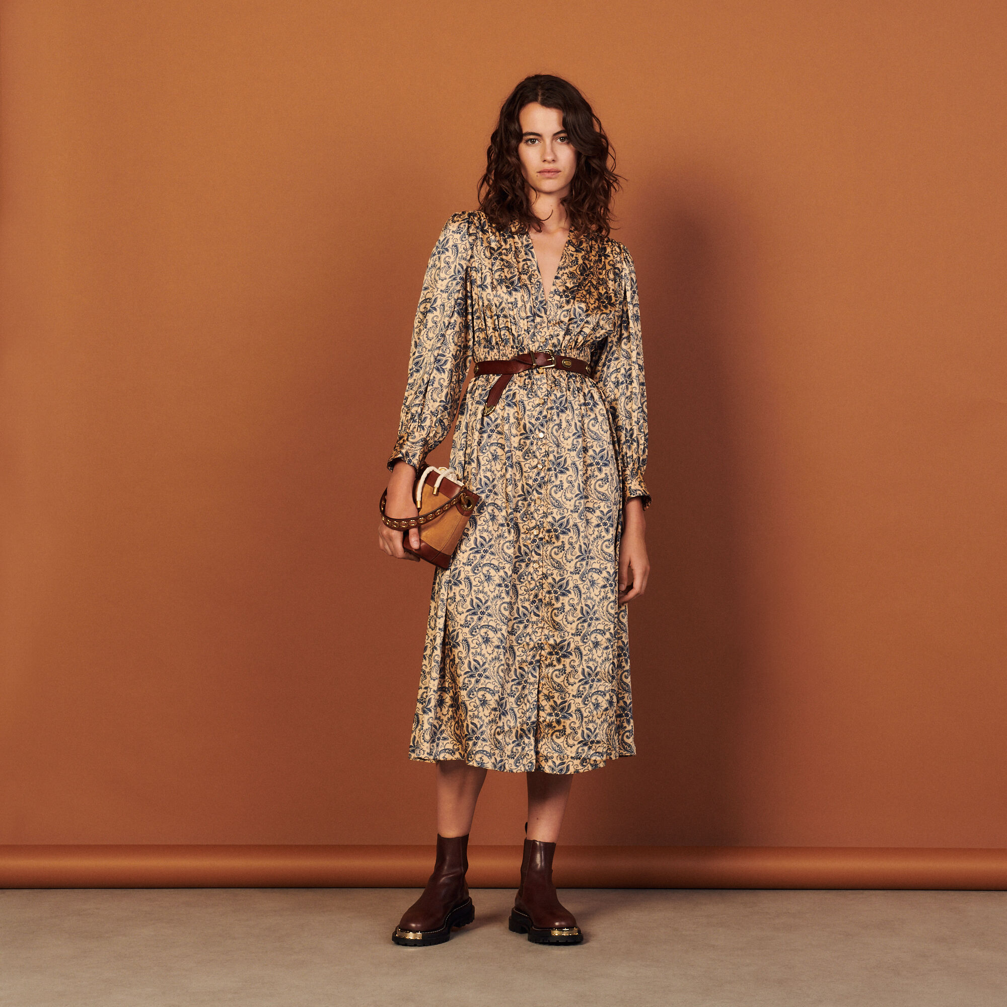 Sandro Long flowing printed dress