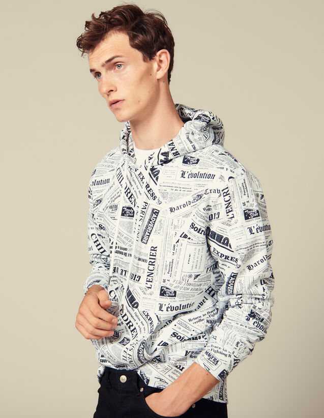 Newspaper Print Hoodie : Sweatshirts color White And Black