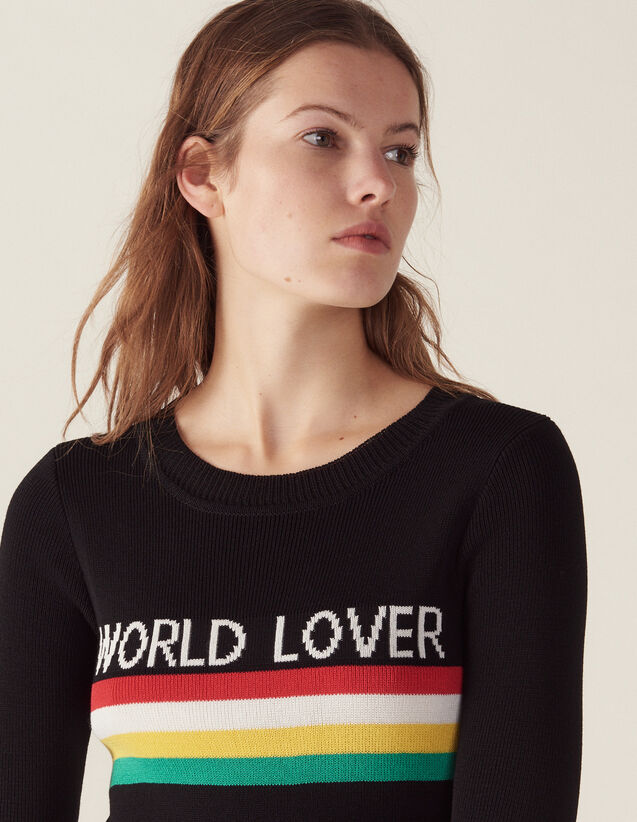 Sweater With Colored Stripes : Sweaters color Black
