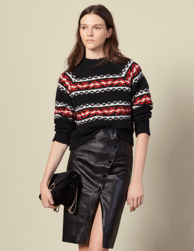 Leather wrapover skirt with slit : Skirts color Black