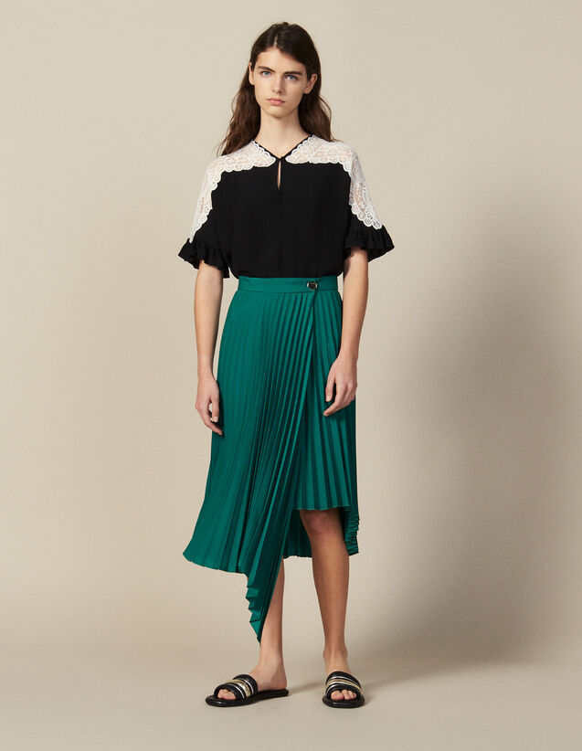 Wraparound Pleated Asymmetric Skirt : Skirts color Green