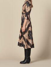 Low neck midi dress with block print : Dresses color Black