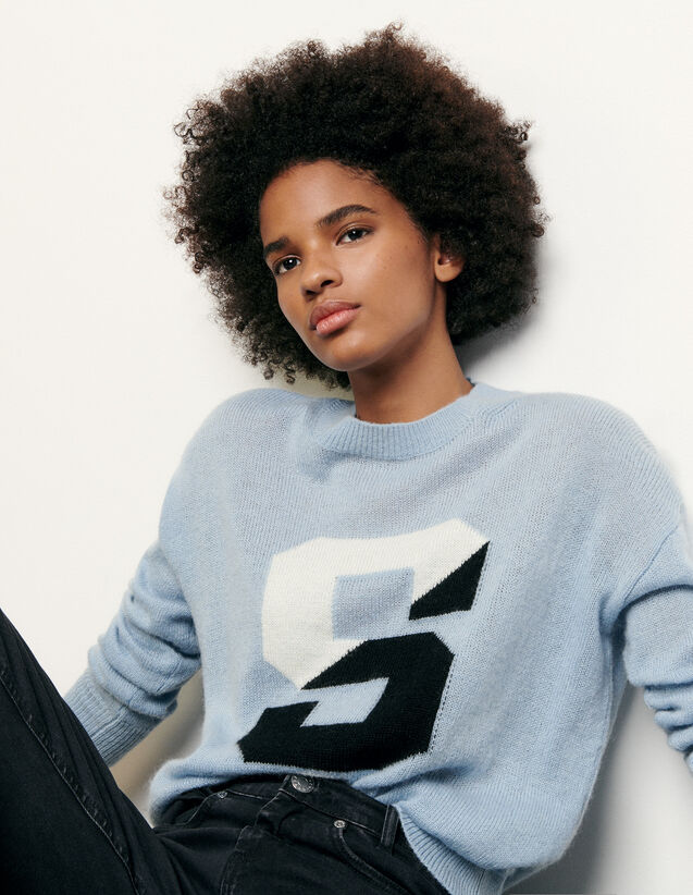 Sweater with initial : Spring Pre-Collection color Blue sky