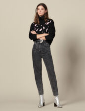 Sweater With Contrasting Leopard Spots : Sweaters & Cardigans color Black