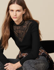 T-Shirt With Lace Panel : Tops & Shirts color Black