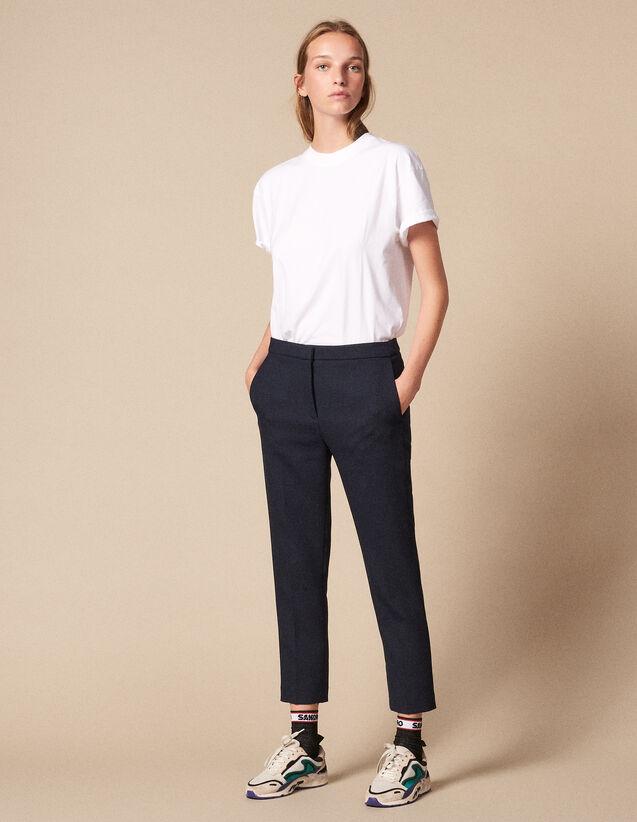 Plain Darted Pants : Pants & Shorts color Navy Blue