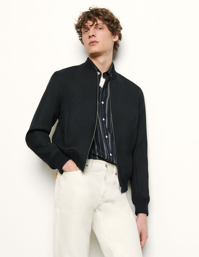 Zipped bomber jacket : Spring Pre-Collection color Navy Blue