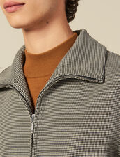 Micro Houndstooth  Zipped Jacket : Jackets color Brown