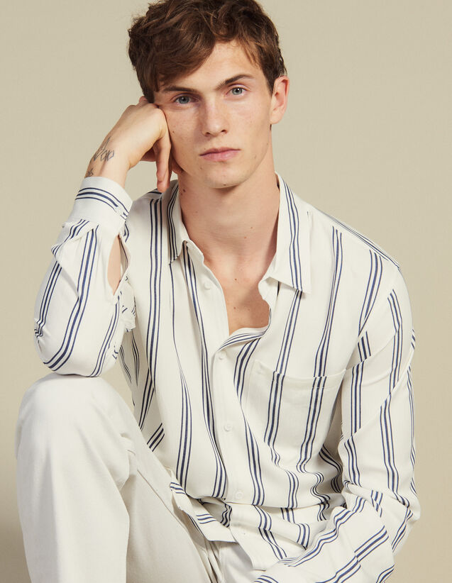 Long-Sleeved Striped Shirt : Shirts color Ecru