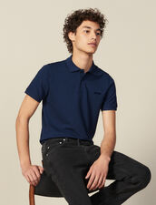 Cotton Polo Shirt With Lettering : T-shirts & Polos color Blue