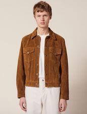 Split Leather Trucker Jacket : Coats & Jackets color Camel