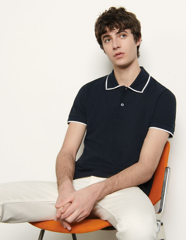 Cotton piqué polo shirt : Spring Pre-Collection color Navy Blue
