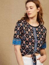 Printed T-Shirt With Tie Fastening : Tops & Shirts color Bordeaux