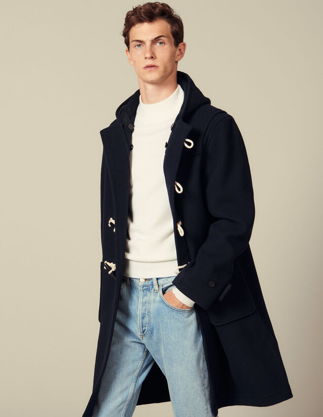 Wool duffle coat : Coats color Navy Blue