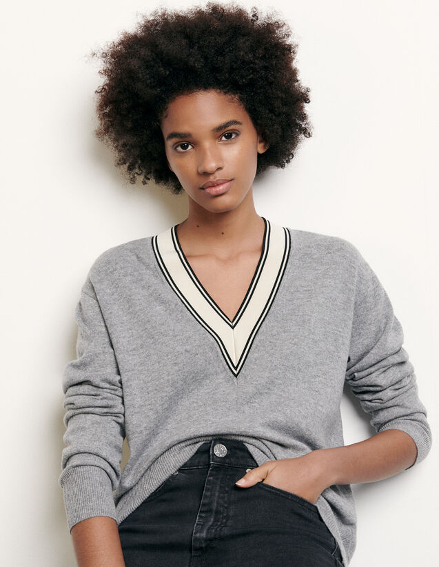 Sweater with constrasting neckline : Spring Pre-Collection color Grey
