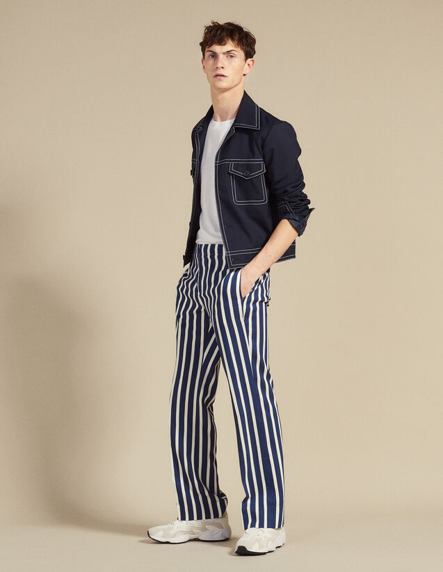 Pants With Contrasting Stripes : Pants & Jeans color Navy Blue