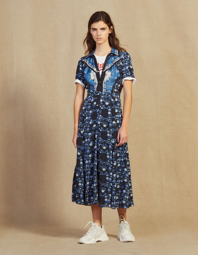 Long Flowing Printed Shirt Dress : Dresses color Blue
